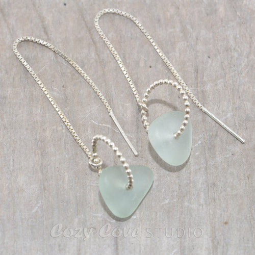 Sea glass threader earrings in sterling silver.