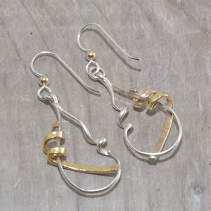 Mixed metal dangle earrings in sterling silver and 14K gold fill. (E601)