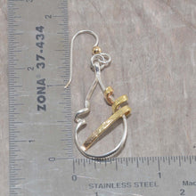 Load image into Gallery viewer, Mixed metal dangle earrings in sterling silver and 14K gold fill. (E601)