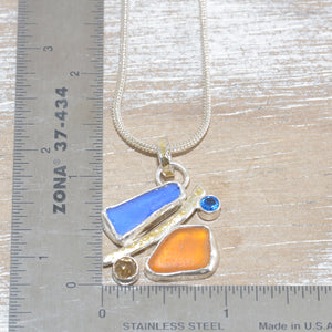 Sea glass pendant necklace with semi-precious stones in sterling silver. (N605)