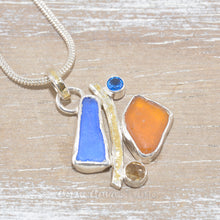 Load image into Gallery viewer, Sea glass pendant necklace with semi-precious stones in sterling silver. (N605)