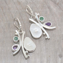 Load image into Gallery viewer, Sea glass and semi-precious stone earrings in hand crafted settings of tarnish resistant sterling silver. (E607)