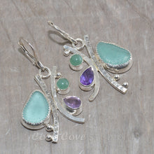Load image into Gallery viewer, Sea glass and semi-precious stone earrings in hand crafted settings of tarnish resistant sterling silver.