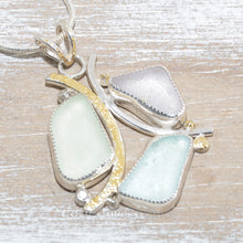 Load image into Gallery viewer, Sea glass pendant necklace in sterling silver accented with 24K gold overlay. (N609)