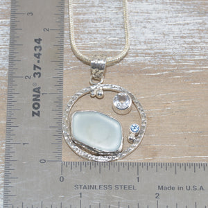 Sea glass pendant necklace in a hand crafted sterling silver setting (N612)