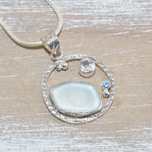 Load image into Gallery viewer, Sea glass pendant necklace in a hand crafted sterling silver setting (N612)