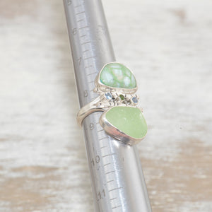 Sea glass and vitreous enamel ring in a hand crafted setting of sterling silver accented with sparkly cubic zirconias. (R614)