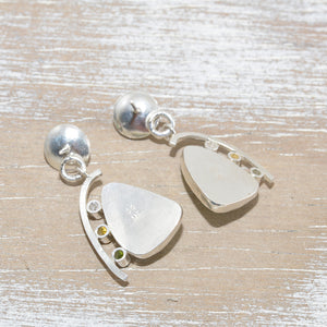 Dangle earrings with enamel cabochons accent with sparkly cubic zirconia in hand crafted sterling silver settings (E617)