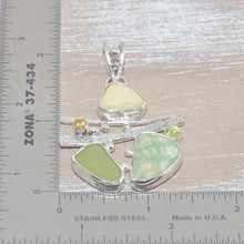 Load image into Gallery viewer, Sea glass and vitreous enamel pendant necklace in a hand crafted setting of sterling silver accented with semi-precious gemstones. (N619)