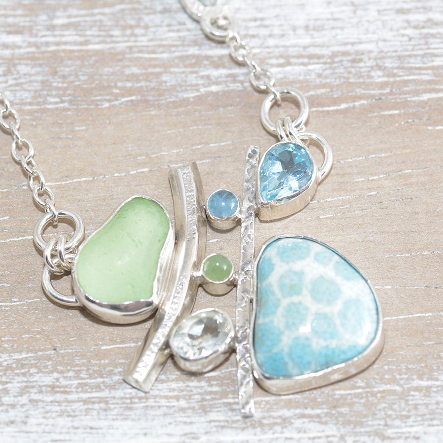 Sea glass and enamel necklace with semi-precious gemstones in a hand crafted setting of tarnish resistant sterling silver. (N623)