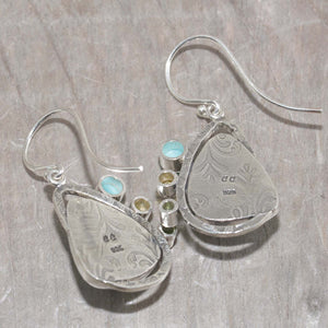 Dangle earrings with enamel cabochons accent with sparkly cubic zirconia in hand crafted sterling silver settings (E624)