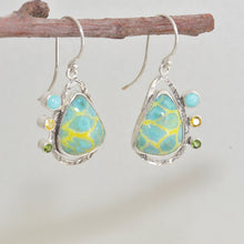 Load image into Gallery viewer, Dangle earrings with enamel cabochons accent with sparkly cubic zirconia in hand crafted sterling silver settings (E624)
