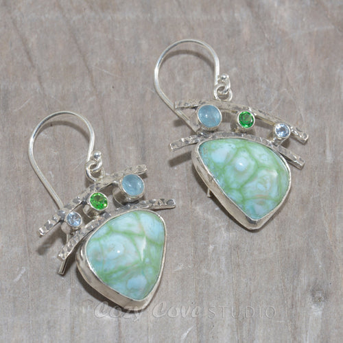 Dangle earrings with enamel cabochons accent with sparkly cubic zirconia in hand crafted sterling silver settings