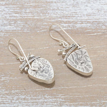 Load image into Gallery viewer, Sea glass earrings in hand crafted sterling silver settings. (E627)