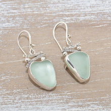 Load image into Gallery viewer, Sea glass earrings in hand crafted sterling silver settings.