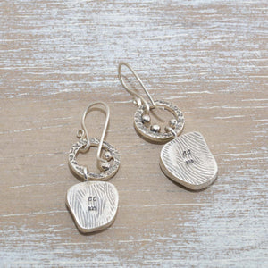 Sea glass earrings in hand crafted sterling silver settings. (E628)