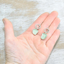 Load image into Gallery viewer, Sea glass earrings in hand crafted sterling silver settings. (E628)