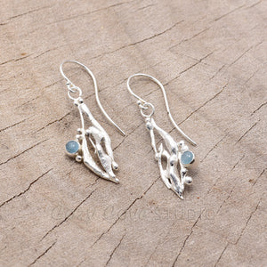 Hand crafted sterling silver drop earrings with aquamarine cabochons (E632)