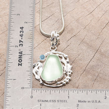 Load image into Gallery viewer, Sea glass necklace in a hand crafted sterling silver setting. (N633)