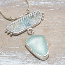 Load image into Gallery viewer, Sea glass pendant necklace in a hand crafted sterling silver setting accented with beryl and aquamarine beads (N636)