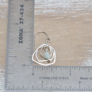 Dangle earrings with amazonite bead drops in sterling silver. (E645)
