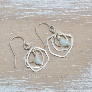 Dangle earrings with amazonite bead drops in sterling silver.