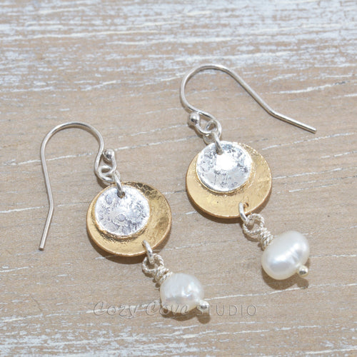 Dangle earrings in sterling silver and 14K gold fill with cultured pearl dangles.