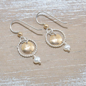 Dangle earrings in sterling silver and 14k gold fill with cultured pearls. (E652)