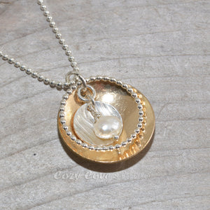 Sterling silver and 14k gold fill necklace (N653)
