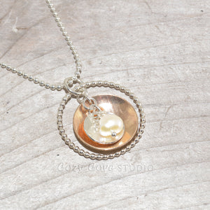 Sterling silver and 14k gold fill necklace (N655)