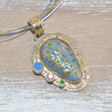 Load image into Gallery viewer, Pendant necklace with vitreous enamel cabochon in a setting of sterling silver and 14K gold fill (N657)