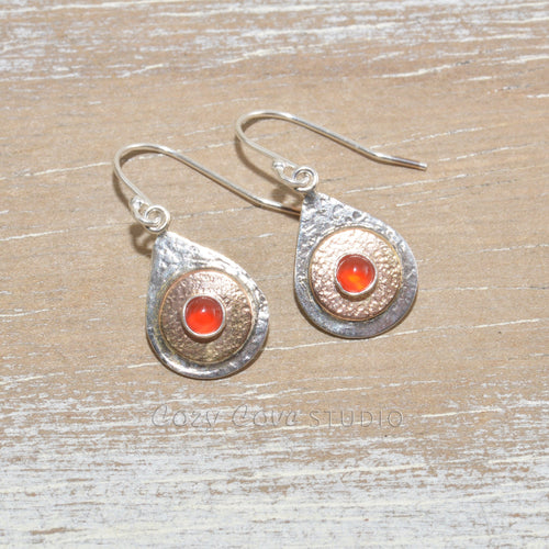 Dangle earrings in hand crafted settings of sterling silver and 14K gold fill.