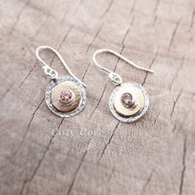 Load image into Gallery viewer, Dangle earrings in hand crafted settings of sterling silver and 14K gold fill.