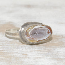 Load image into Gallery viewer, Druzy geode cuff bracelet in a hand crafted setting of sterling silver. (B664)