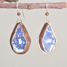 Load image into Gallery viewer, Vintage sea pottery dangle earring in hand crafted copper settings. (E666)