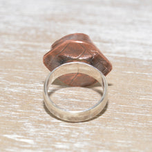 Load image into Gallery viewer, Vintage sea pottery ring in a hand crafted setting of copper and sterling silver. (R667)