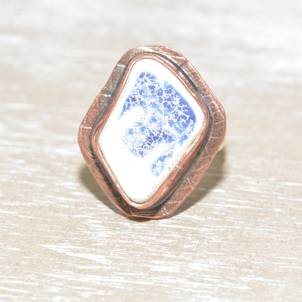 Vintage sea pottery ring in a hand crafted setting of copper and sterling silver. (R667)