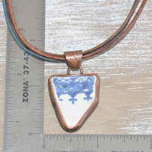 Load image into Gallery viewer, Vintage sea pottery necklace in a hand crafted copper setting with custom leather necklace. (N668)