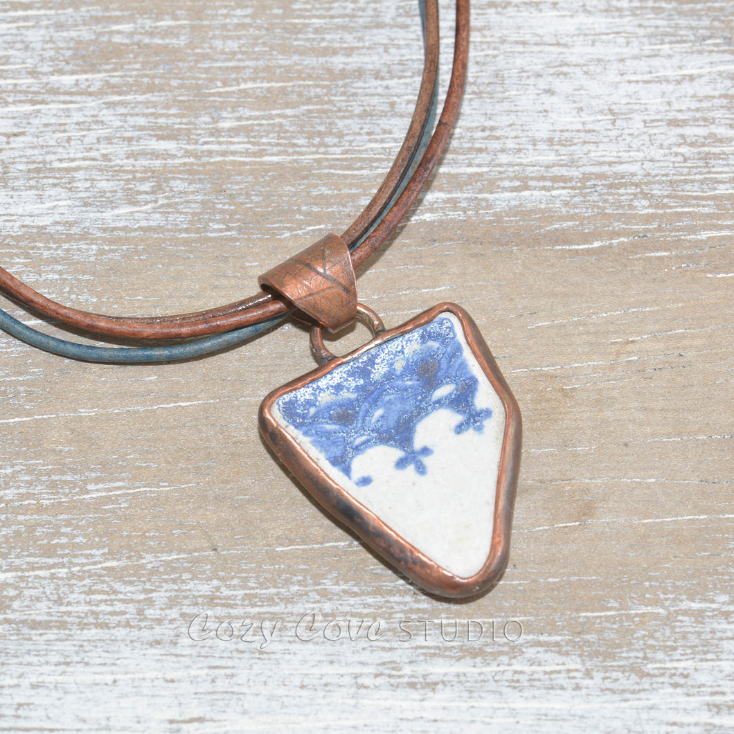 Vintage sea pottery necklace in a hand crafted copper setting with custom leather necklace. (N668)