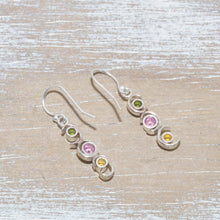 Load image into Gallery viewer, Sparkly dangle earrings in hand crafted sterling silver settings. (E669)