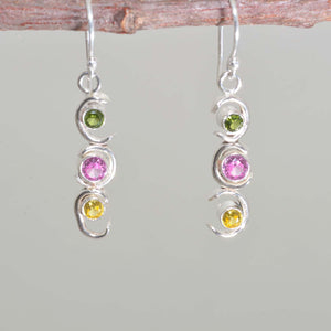 Sparkly dangle earrings in hand crafted sterling silver settings. (E669)