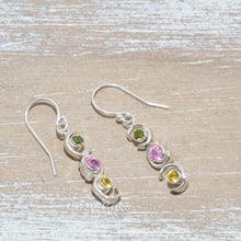 Load image into Gallery viewer, Sparkly dangle earrings in hand crafted sterling silver settings.