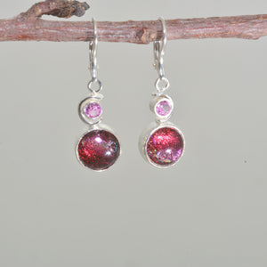 Dichroic glass dangle earrings in hand crafted sterling silver settings. (E670)