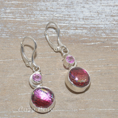 Dichroic glass dangle earrings in hand crafted sterling silver settings.