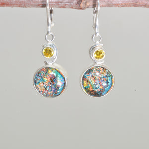 Dichroic glass dangle earrings in hand crafted sterling silver settings. (E671)