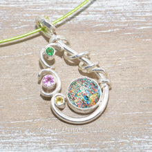 Load image into Gallery viewer, Dichroic glass necklace in a hand crafted setting of sterling silver. (N674)