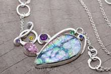 Load image into Gallery viewer, Dichroic glass and gemstone pendant in a hand crafted setting of sterling silver. (N676)