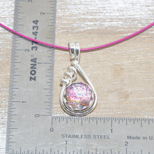 Load image into Gallery viewer, Dichroic glass necklace in a hand crafted setting of sterling silver. (N677)