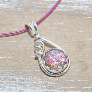 Dichroic glass necklace in a hand crafted setting of sterling silver. (N677)