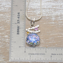 Load image into Gallery viewer, Dichroic glass pendant necklace in a handcrafted sterling silver setting. (N682)
